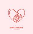 broken heart heartbreak flat line vector image