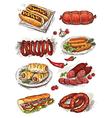 hand drawing sausage vector image