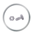 Structural bolt and hex nut icon in cartoon style vector image