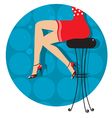 woman legs with fashion shoes sitting on bar stool vector image
