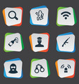 set of simple police icons vector image