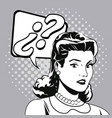 woman question comic pop art vector image