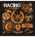 Racing design - elements for emblem vector image