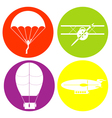 monochrome icon set with parachute aircraft airshi vector image