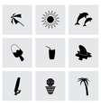 black summer icons set vector image