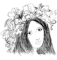 Girl wearing a wreath ink sketch vector image