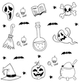 Halloween element in doodle black white vector image