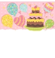 Happy Birthday card background with cake vector image