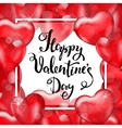 Happy Valentine s Day White Frame Red Heart vector image