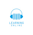 Online language learning logo speaking and books vector image