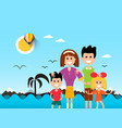 People on beach with ocean waves and palm tre vector image