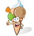Ice cream with thumbs up vector image