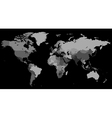 Greyscale World map on black background vector image