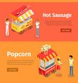 hot sausage and popcorn mobile umbrella carts vector image