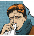 pop art of sick man vector image