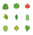 summer leaves icons set cartoon style vector image