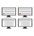 Monitor with list vector image vector image