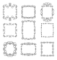Set of decorative frames in linear style vector image