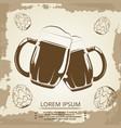 beer mugs and hops vintage poster for beer shop vector image