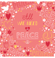 doodle pink love and peace theme background with vector image