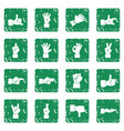 hand gesture icons set grunge vector image