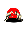 Japanese Sumo Wrestlers Fighting vector image