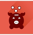 Flat icon with long shadow piggy bank money vector image