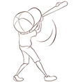 A plain sketch of a male baseball player vector image