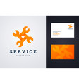 auto repair service logo and business card vector image