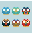 Funny frozen owls set vector image