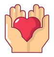 hand heart icon cartoon style vector image