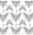pattern oval leaves and branches vector image