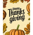Thanksgiving day poster with leaves pumpkin vector image