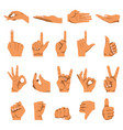Hand and finger gestures flat isolated vector image