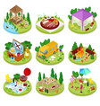 isometric bbq picnic summer camp people park vector image