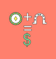 flat icon design collection chip horseshoe dollar vector image