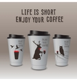 Take-out coffee in thermo cup Enjoy your coffee vector image vector image