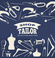 blue tailor shop fashion banner or poster with vector image