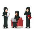 businesswoman with veil working on gadgets vector image