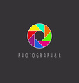 Colored aperture of the camera lens photo studio vector image