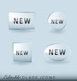 glass icon collection vector image