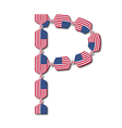 Letter P made of USA flags in form of candies vector image