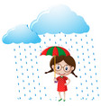 little girl in red shirt standing in the rain vector image