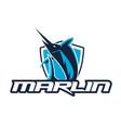marlin sport logo with shield vector image