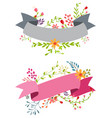 vintage flower banner with ribbon vector image