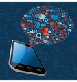 Social media bubble smart phone vector image