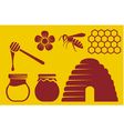 bee and honey icons vector image vector image