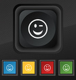 Winking Face icon symbol Set of five colorful vector image