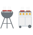 Kettle barbecue grill with cover and barbecue gas vector image