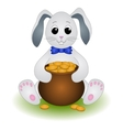 Cartoon Rabbit with Pot of Gold Coins vector image
